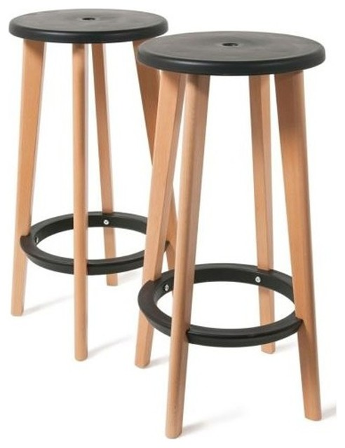 Lot de 2 tabourets de bar harry 39 s couleur noir scandinave chaise et tabouret de bar par for Tabouret bar couleur