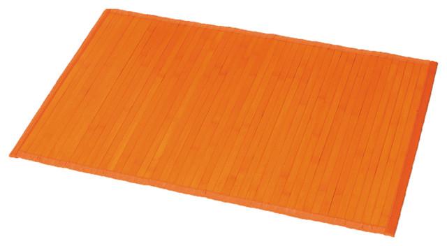 Bamboo bath mat anti slippery orange contemporary bath mats - Orange kitchen floor mats ...