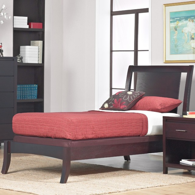 Floating panel twin size sleigh bed contemporary - Floating chair for bedroom ...