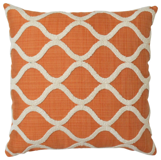 Embroidered Trellis Pillow Cover, Orange - Modern - Decorative Pillows - by Pillow Flight
