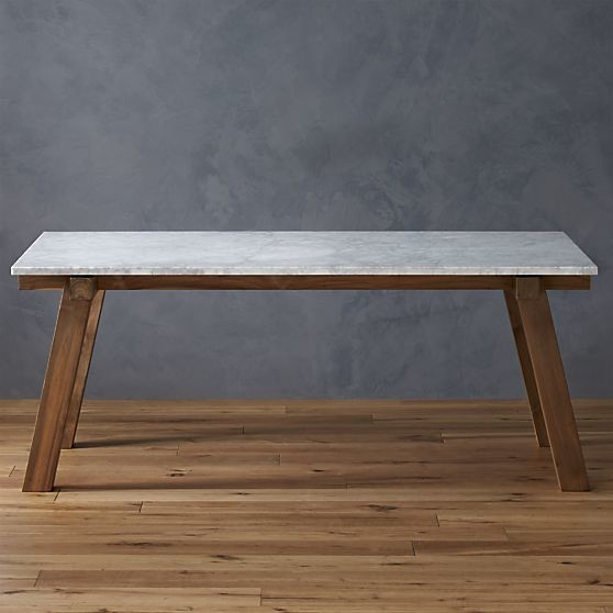 Riviera rectangular marble top dining table contemporary for Modern marble dining table