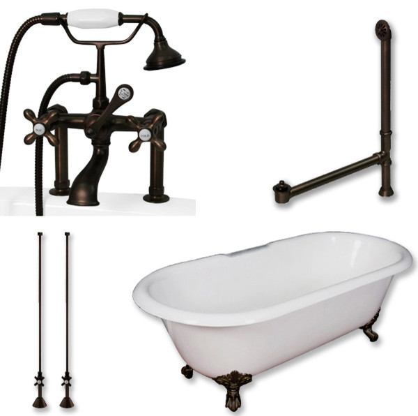 Cast Iron Ended Clawfoot Tub 60 Telephone Faucet Oil Rubbed Bronze Package Traditional