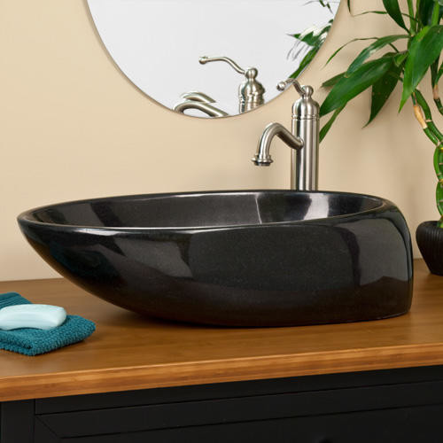 Black Granite Vessel Sink : Asymmetrical Oval Black Granite Vessel Sink traditional-bathroom-sinks