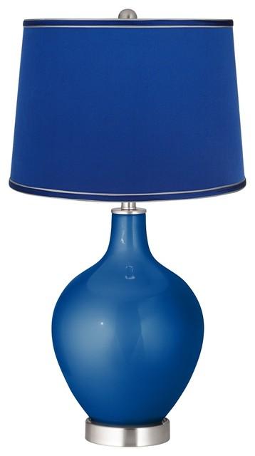 ocean metallic satin dark blue shade ovo table lamp. Black Bedroom Furniture Sets. Home Design Ideas