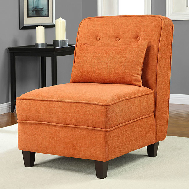 Mattie Fiesta Orange Tufted Slipper Chair Contemporary Living Room Chairs