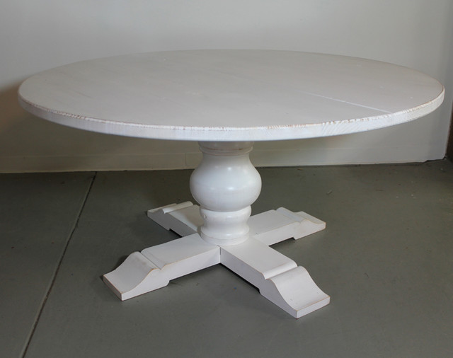 White Reclaimed Wood Round Dining Table Farmhouse Dining Tables