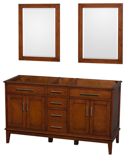 Double Bathroom Vanity In Light Chestnut No Countertop Four Mirror Transitional