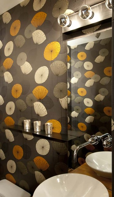 modern wallpaper and roller shades modern bathroom