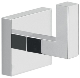 Modern Square Wall Mount Bathroom Hook, Chrome - Contemporary - Robe & Towel Hooks - by ...
