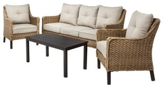 Perry 4-piece Sea Grass Wicker Patio Conversation Furniture Set - Contemporary - Outdoor Lounge ...