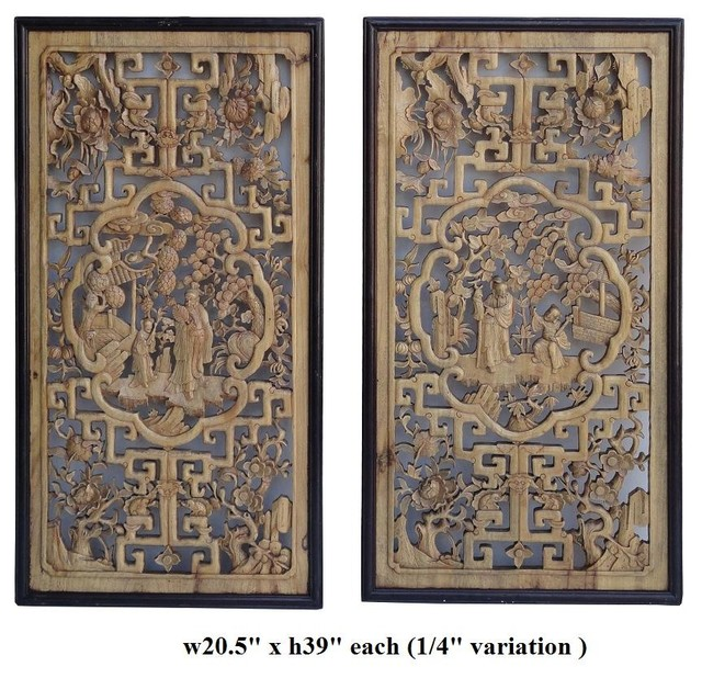 Pair Chinese Boxwood Carved Scholar Kid Scenery Panels Asian Screens