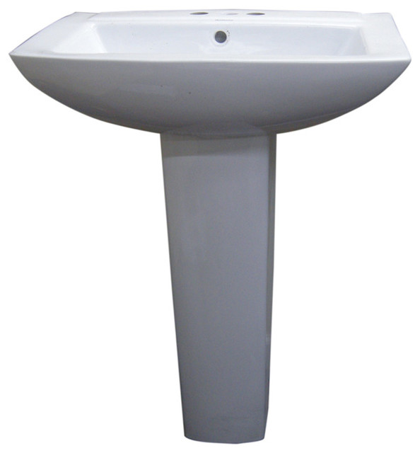 Modern Square White 4 Inch Spread Ceramic Pedestal Sink Contemporary Bathroom Sinks By