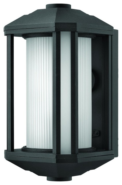 1394BK Castelle Outdoor Wall Light, Black, Ribber Cylinder and Corner Glass - Contemporary ...