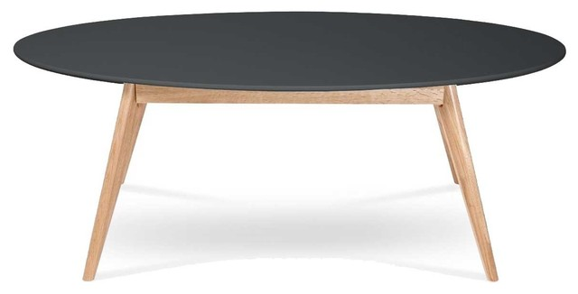 Table basse design scandinave ovale skoll couleur noir for Table scandinave bois massif