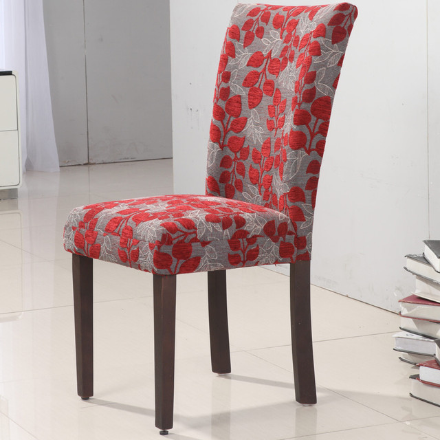 Floral Dining Room Chairs: Elegant Red Floral Parson Chair (Set Of 2)