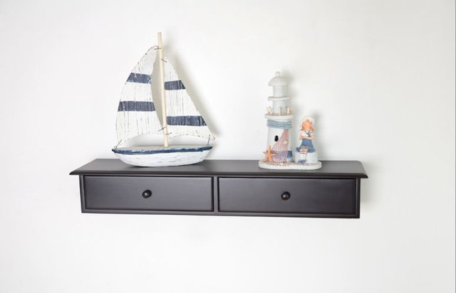 Decorative Wall Mounted Shelf And Storage Drawer : Wall mount cabinet shelf with two drawers modern