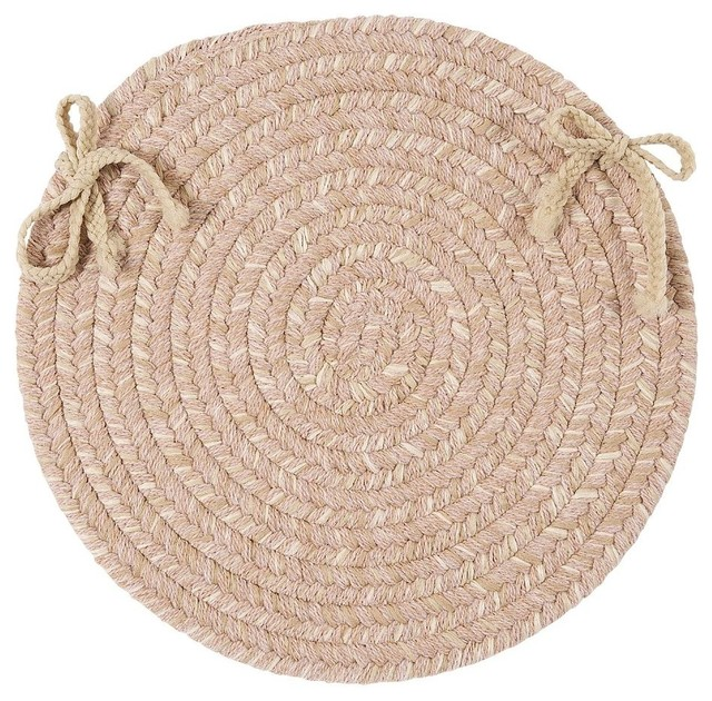 Braided Tremont Round Neutral chair pad Traditional