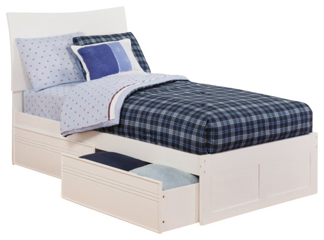 Atlantic Furniture Soho Bed with Drawers in White Twin