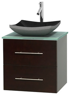Centra 24 Espresso Single Vanity Green Glass Top Altair Black Granite