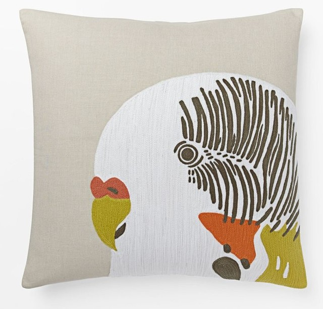 Contemporary Crewel Pillow : Crewel Parakeet Pillow Cover - Contemporary - Decorative Pillows - by West Elm
