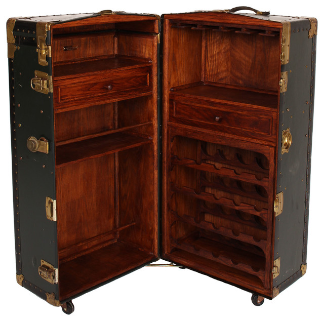 Steamer Trunk Bar Cabinet traditional-wine-and-bar-cabinets