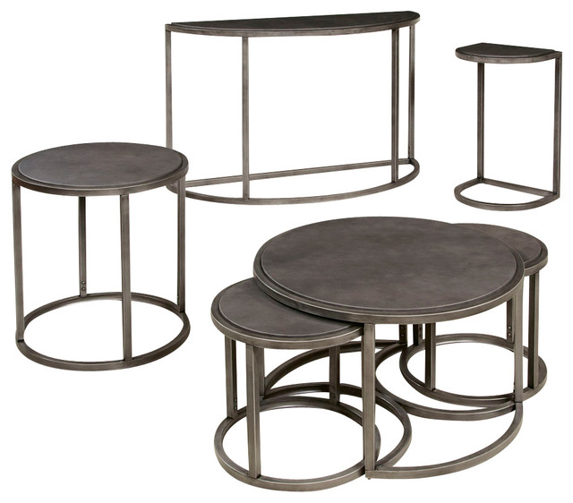 Hammary Rotation 4 Piece Round Coffee Table Set With Metal