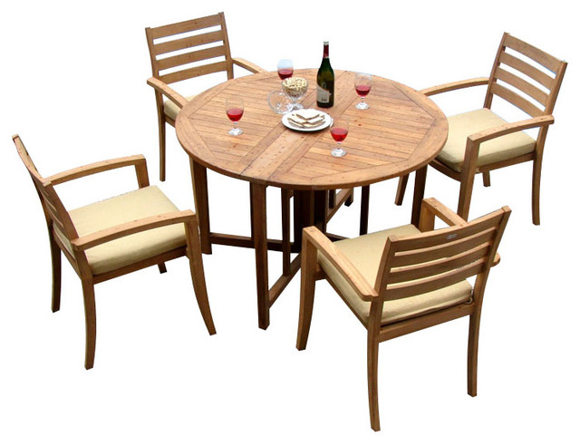 Set 48 quot round butterfly table and 4 travota stacking arm chairs
