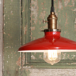 Pendant Light With Red Enamel Shade by Lucent Lampworks - Industrial ...