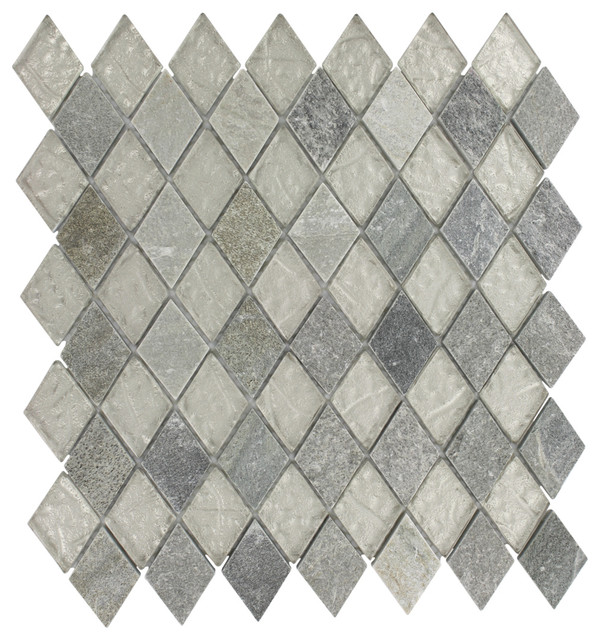 Geological Diamond Quartz Slate White Glass Contemporary