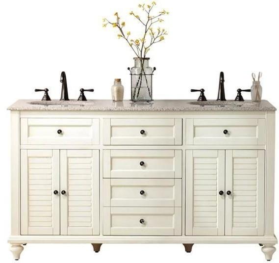 Hamilton Shutter Double Bathroom Vanity 35hx61w White Hamilton Vanity Traditional