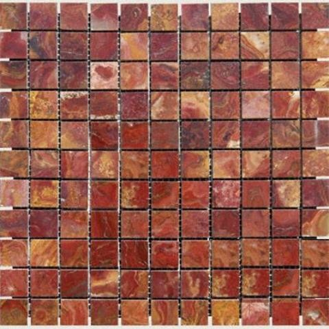 10 Sq Ft Of 1x1 Red Onyx Polished Transitional