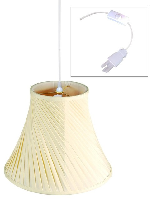 1 Light Plug In Swag Pendant Lamp Eggshell 8x16x12