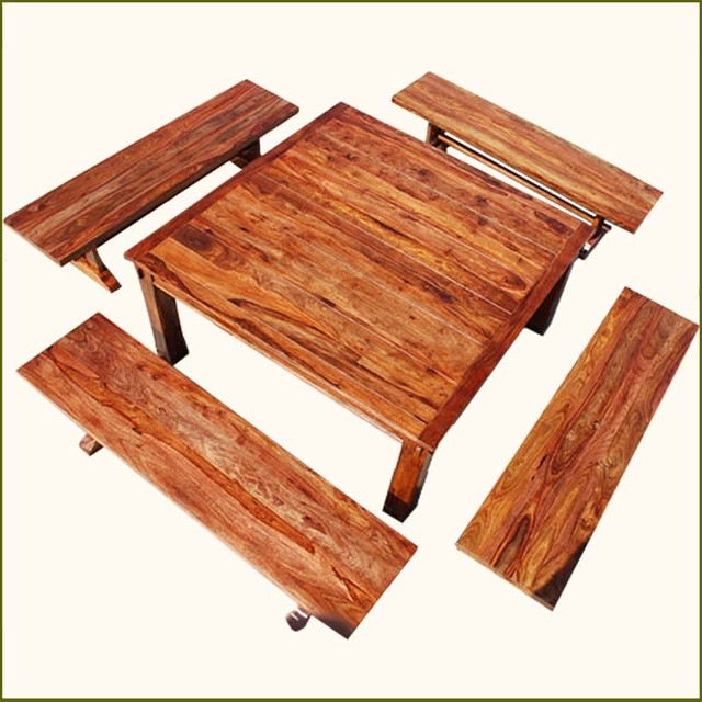 Square Dining Table With Bench: Rustic Square Santa Cruz Dining Table With 4 Benches For 8