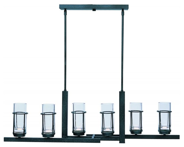 Six Light Clear Glass Anthracite Up Chandelier