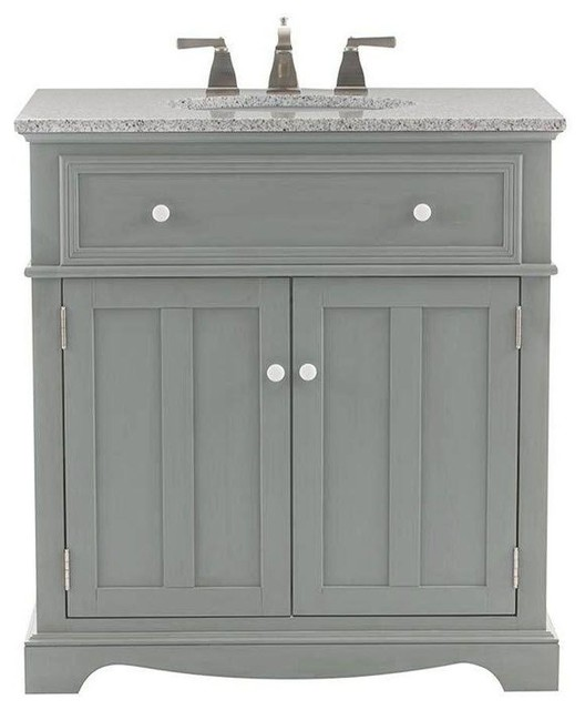 Home Decorators Collection Fremont 32 In Vanity In Grey With Granite Vanity Contemporary