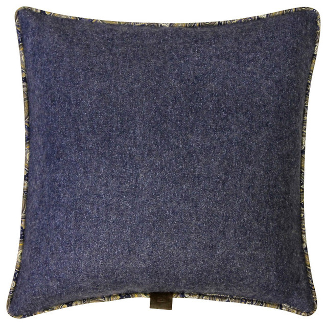Sartorial Home Pillow: Heathered Blue & Solid Stone Grey - Traditional - Decorative Pillows - by ...