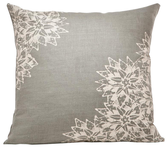Eclectic Decorative Pillows : Indochine Paradise Floral Pillow, Stone/Tan - Eclectic - Decorative Pillows - by Cricket Radio