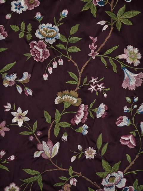 Purple Embroidered Floral Faux Silk Fabrics