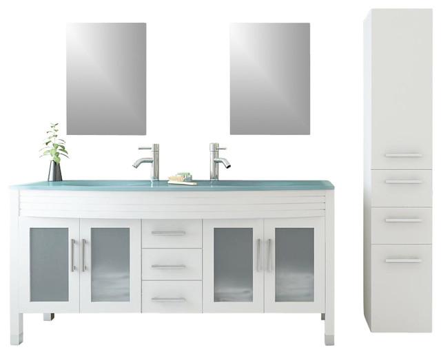 Three Grand Regent White Double Sink Bathroom Vanity