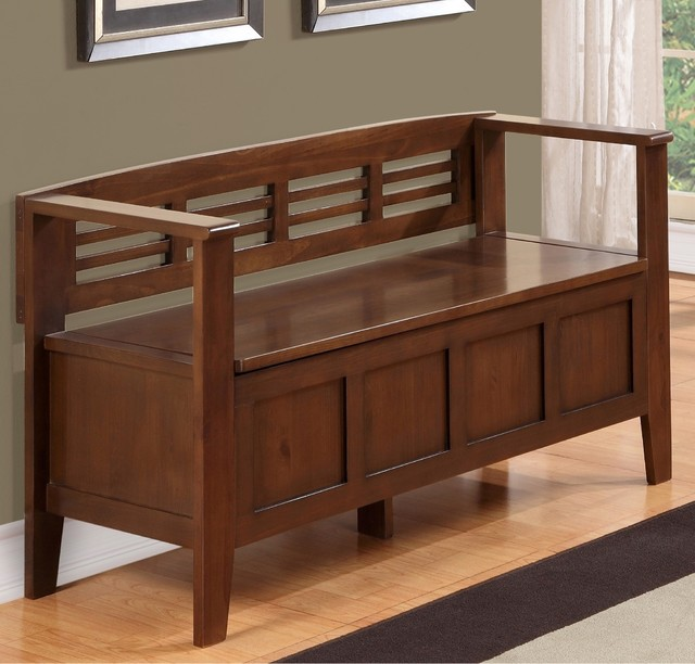 Contemporary Entry Bench: Chandler Rustic Brown Entryway Storage Bench