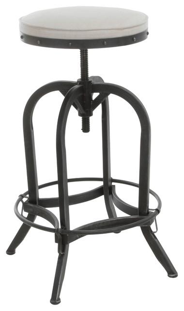 Dempsey Swivel Iron Bar Stool Beige Fabric industrial bar  : industrial bar stools and kitchen stools from houzz.co.uk size 380 x 640 jpeg 34kB