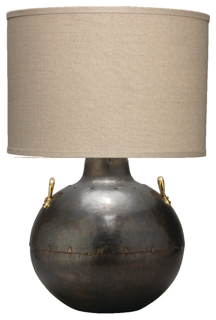 Salt Lamps Marion : Two Handled Kettle Table Lamp, Iron With Classic Drum Shade, Natural Linen - Contemporary ...