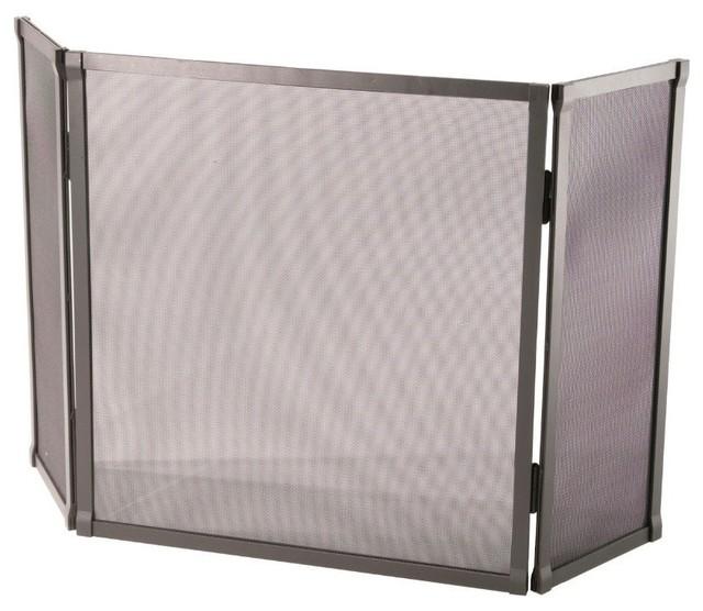 Standard triple panel fire screen natural black contemporary fireplace screens by shopladder - Houzz fireplace screens ...