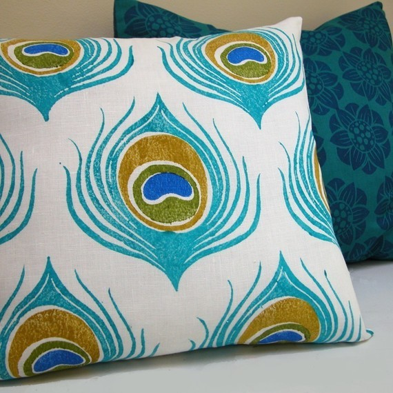 Eclectic Pillow Cases : Turquoise Blue Peacock Feather Linen Pillow Case By Giardino - Eclectic - Decorative Pillows ...