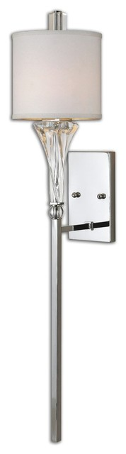 Transitional Chrome Wall Sconces : Uttermost 22495 Grancona 1-Light Chrome Wall Sconce - Transitional - Wall Sconces - by ...