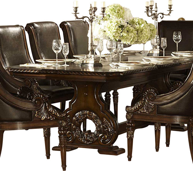 Homelegance orleans double pedestal dining table in rich for Traditional dining table uk
