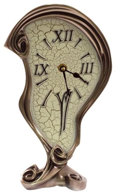 10.50 Inch Warped Clock Polished Bronze Cracked Eggshell ...