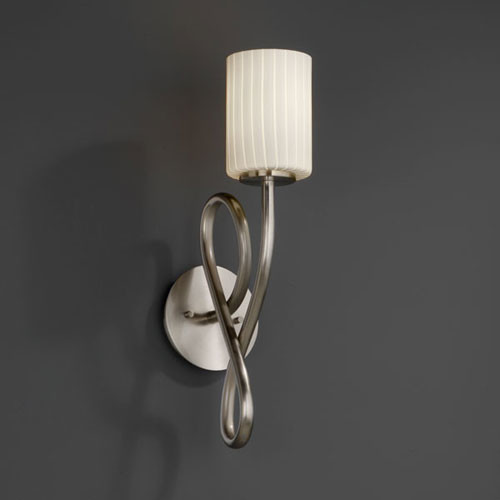Wall Sconces Bathroom Vanity : Fusion Capellini Brushed Nickel Wall Sconce - Contemporary - Bathroom Vanity Lighting