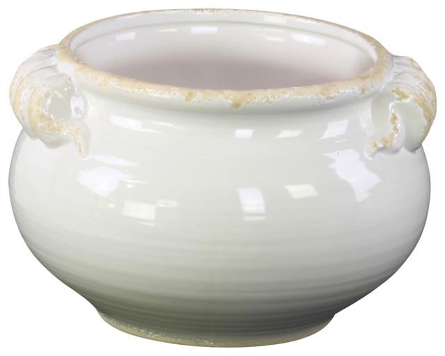 Ceramic Round Tuscan Pot White Small Mediterranean