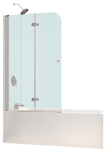 Hinged Glass Tub Enclosures : Dreamline aquafold quot frameless hinged tub door clear